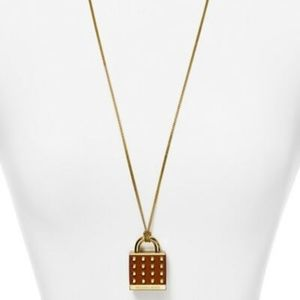 MICHAEL KORS LEATHER GOLD TONE PADLOCK NECKLACE